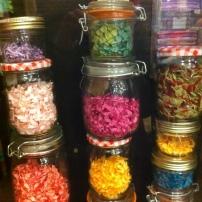 Avoca jars of bows through glass