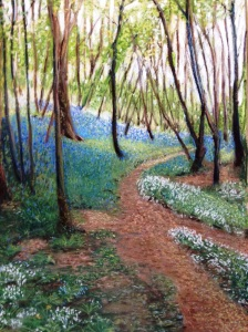 In a bluebell wood. Soft pastel.