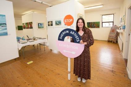 Sherkin artist and curator, Jordyn Lynch, is seen here at the Sherkin Island community art exhibition.©RobbieMurphy